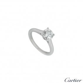 Cartier Platinum Diamond 1895 Solitaire Ring 0.90ct H/VS1 XXX